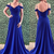 Simple blue v neck long prom dress