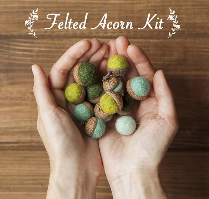 DIY Kit - Felted Acorn Kit - Beginner Felting Kit - Gift - Christmas Crafts -