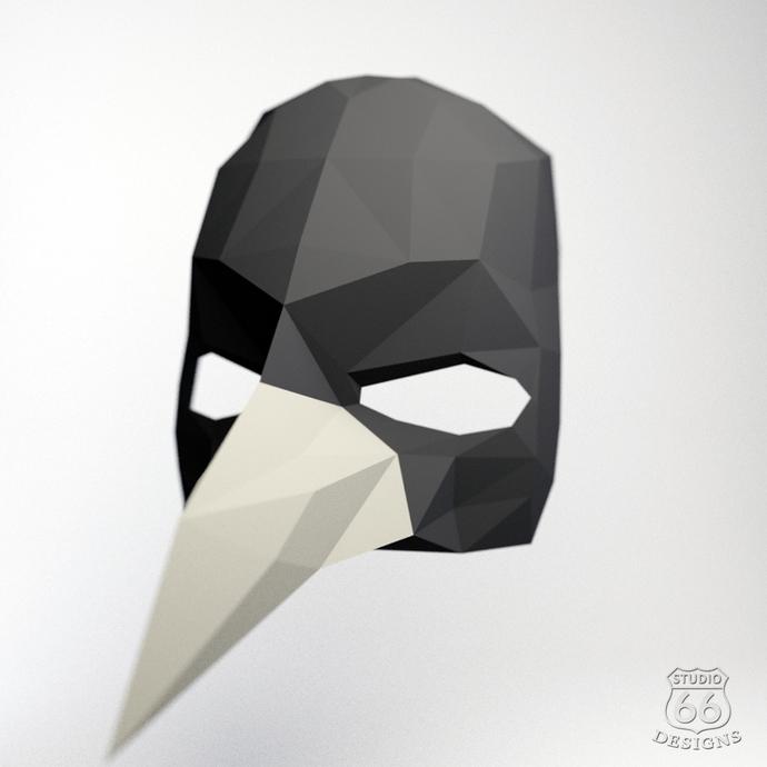 Crow Mask, Festival Mask, Papercraft Crow, Papercraft Mask, Animal Trophy, Bird