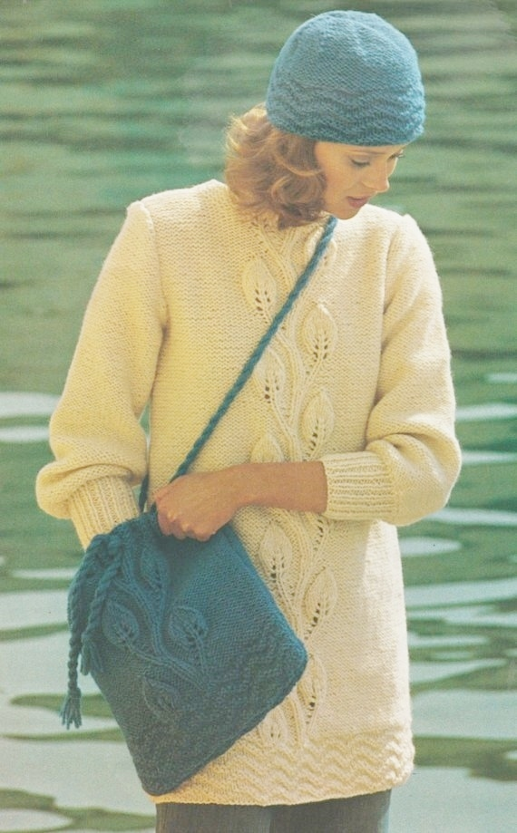 1aae20e05c75 Instant PDF Download Vintage Row by Row Knitting Pattern to make Ladies  Chunky