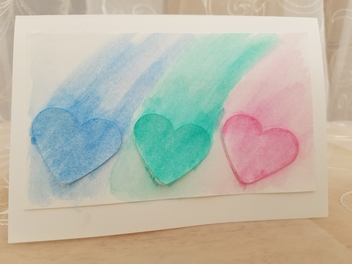 Five Handcrafted Greeting Cards (Hearts)