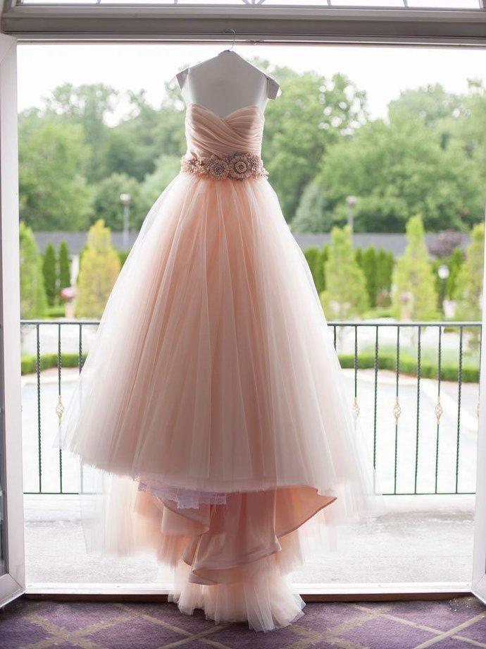 A-line Strapless Sweetheart Neck Chapel Train Wedding Dresses