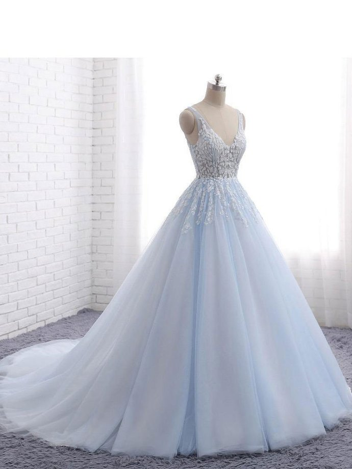 Ball Gown Prom Dresses with Train,See Through Wedding Dresses