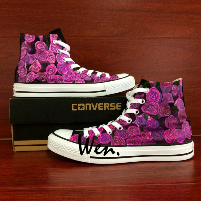 Black Converse All Star Floral Shoes Hand Painted Purple Roses Flower Shoes