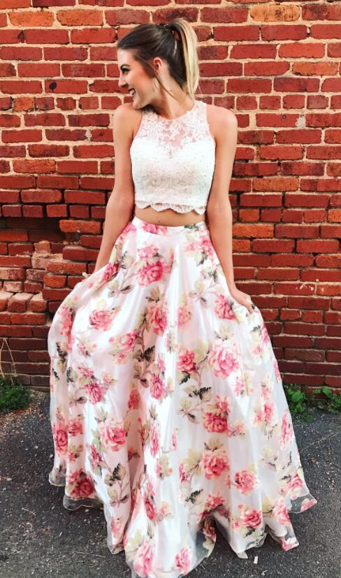 Two Piece Floral Long Prom Dress Graduation Dress Homecoming Dress