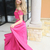 Gorgeous Off the Shoulder Two Piece Hot Pink Long Prom Dress Homecoming Dress