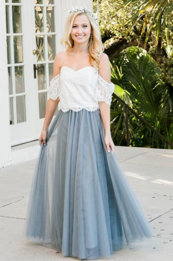 Off the Shoulder Lace Prom Dress Long Bridesmaid Dress
