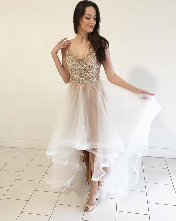Unique V Neck Champagne and White High Low Prom Dress