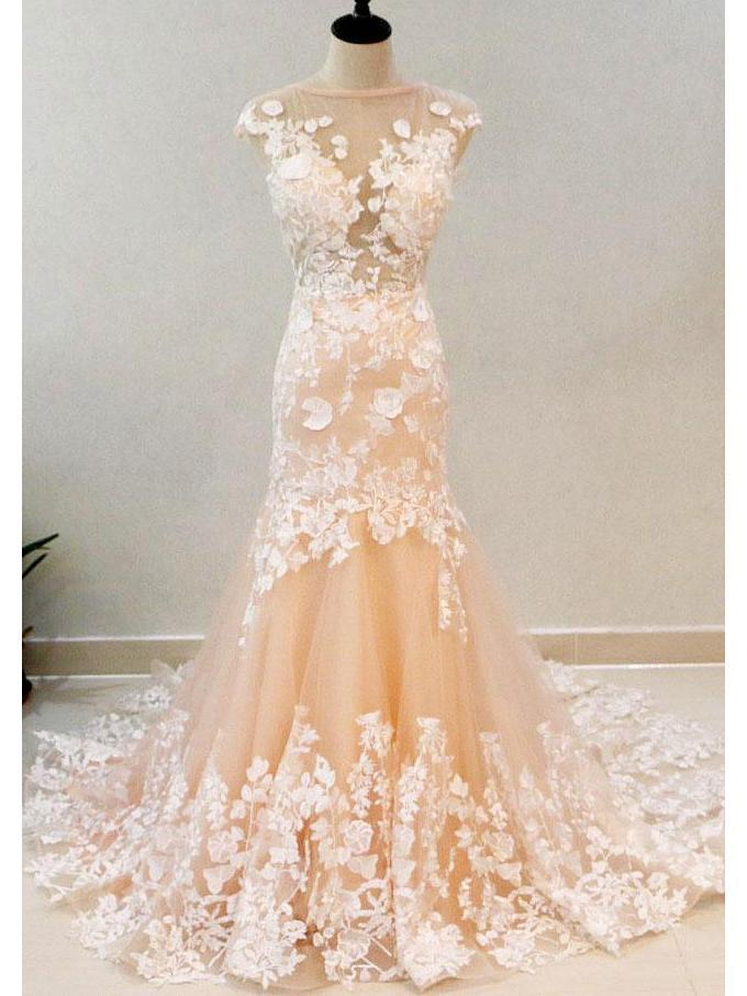 Blush Mermaid Wedding Dresses Ivory Lace Appliqued Lass