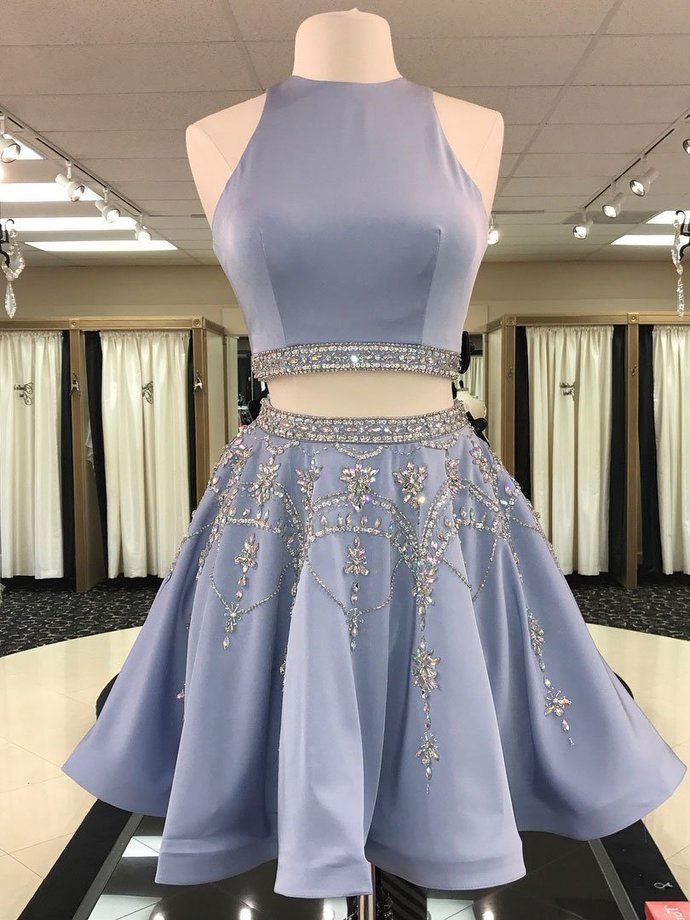 A-line 2 Piece Homecoming Dresses Light Blue Rhinestone Beaded Hoco Dress