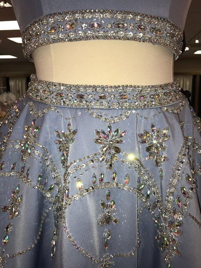A-line 2 Piece Homecoming Dresses Light Blue Rhinestone Beaded Hoco Dress