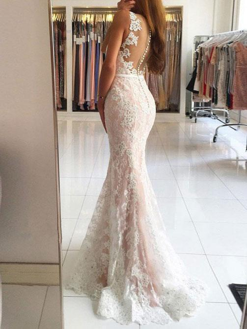 Ivory Lace V-neck Mermaid Long Prom Dresses with Sweep Train