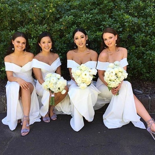 Off the Shoulder White Mermaid Long Bridesmaid Dress with Slit