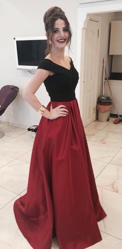 Elegant Off the Shoulder Black and Red Long Prom Dress Homecoming Dress