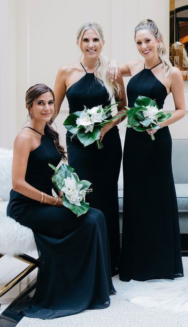 Halter Straps Navy Blue Long Bridesmaid Dress