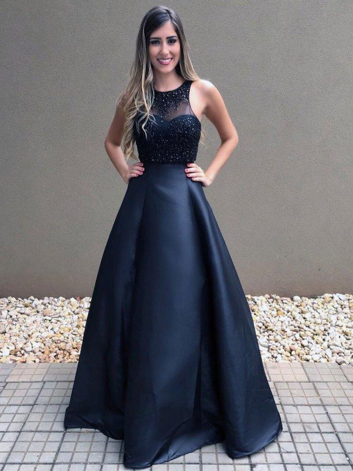 Cheap Black Beaded Prom Dresses Long A Line Formal   lass
