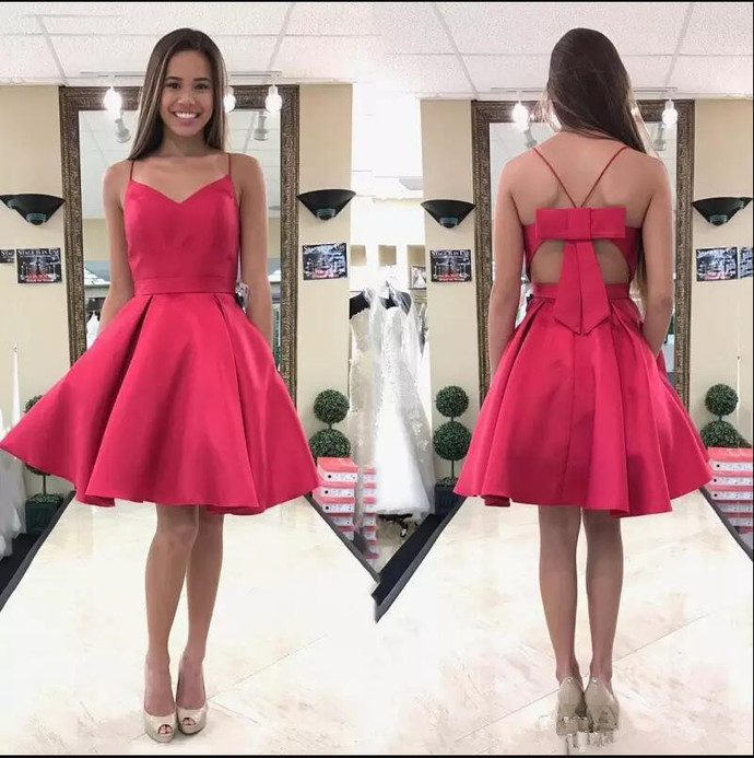 Cute A-line Short Hot Pink Prom Dress Homecoming Dress with Bow