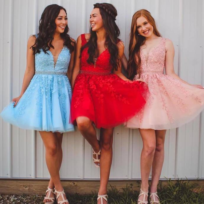 Appliques Homecoming Dress, Short Prom Dress Graduation Dress