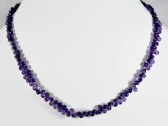 Genuine Purple Amethyst Teardrop Shape Charming Single Strand Beaded Necklace In