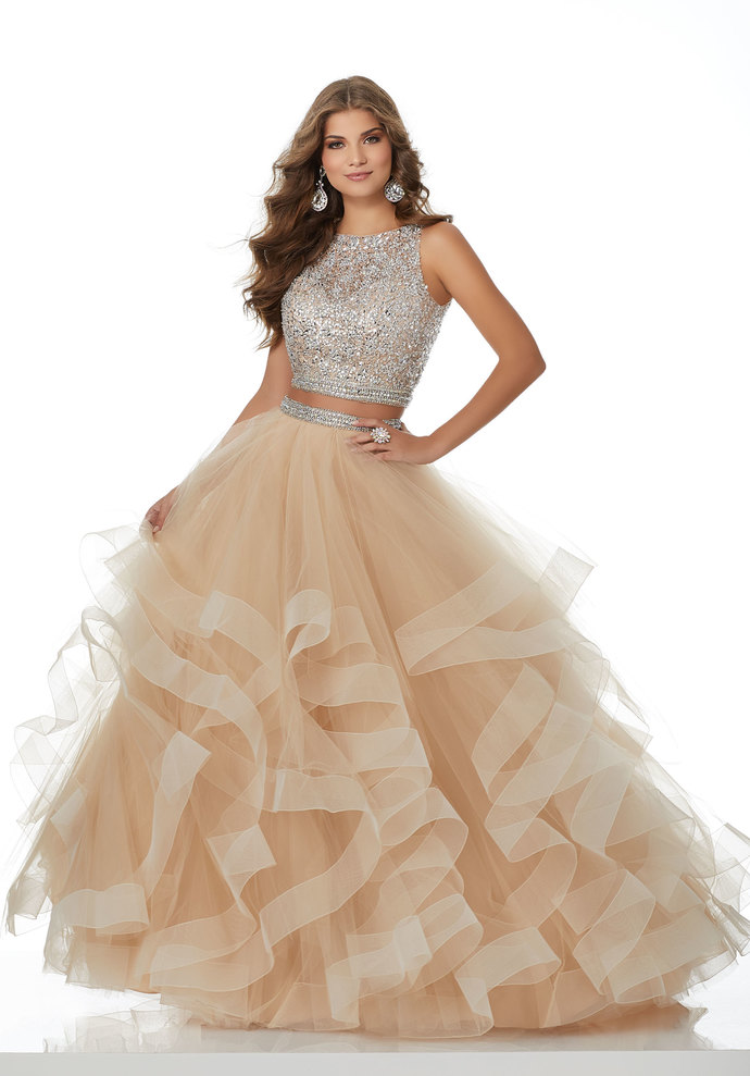 Sparkly Two Piece Champagne Long Prom Dress with Open Back