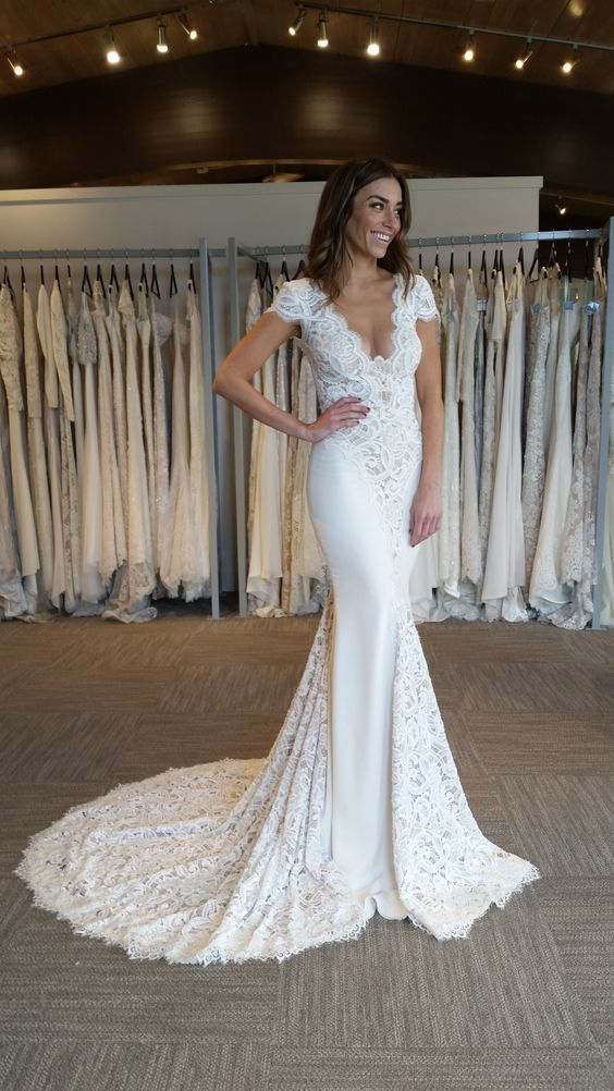 Cap Sleeves White Lace Mermaid Long Wedding Dress with Train