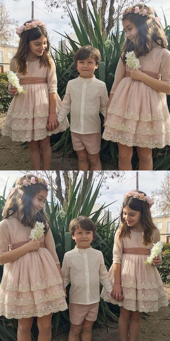 A-Line Round Neck Short Flower Girl Dress with Lace