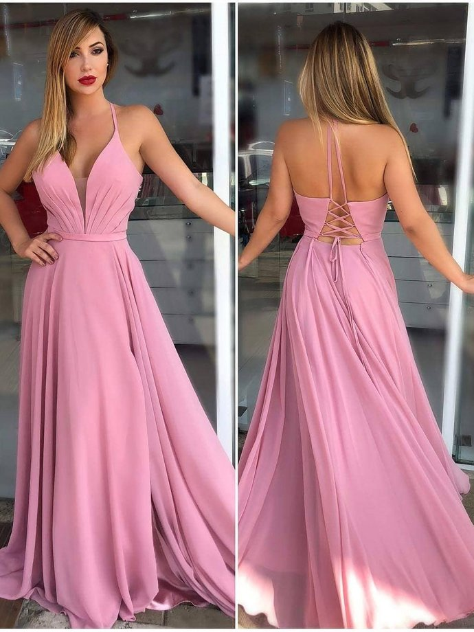 Spaghetti Strap Halter Dusty Rose Prom Dresses Cheap By Lass On Zibbet