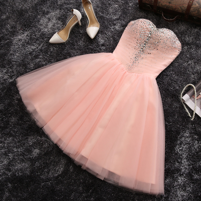 Pink Formal Dress, Beaded Cute Party Dress, Prom Dresses 2019