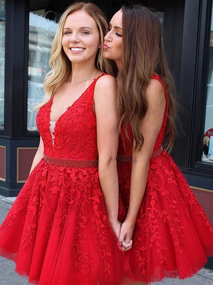 656c984e13f3c9 Red Lace Applique Homecoming Dresses V Neck Tulle by lass on Zibbet