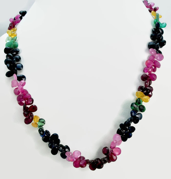 Real Briolette Faceted Ruby Emerald & Blue Sapphire Single Strand Graduated