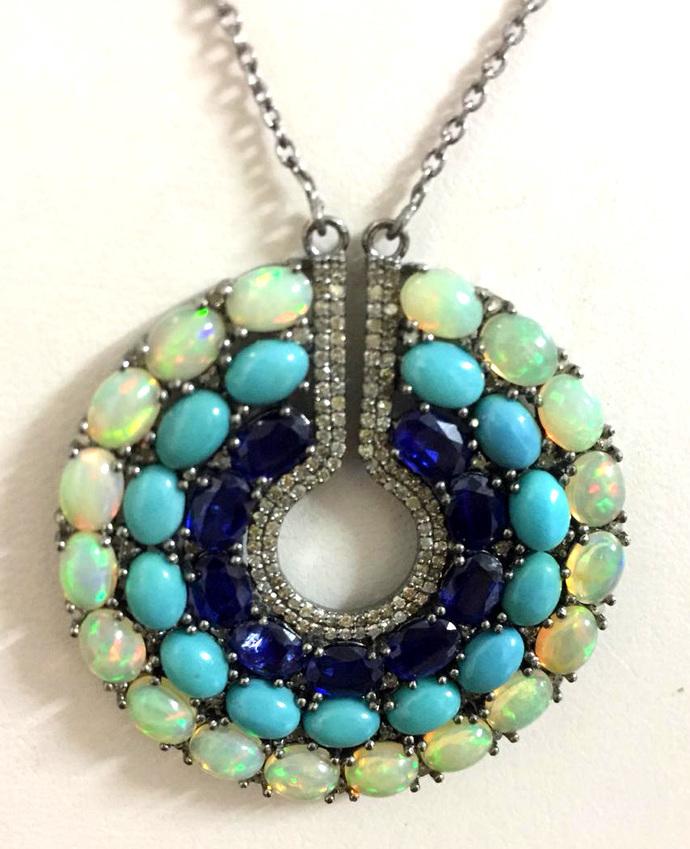 925 Sterling Silver Diamond Ethiopian Opal Turquoise Kynite Jewelry Pendant.