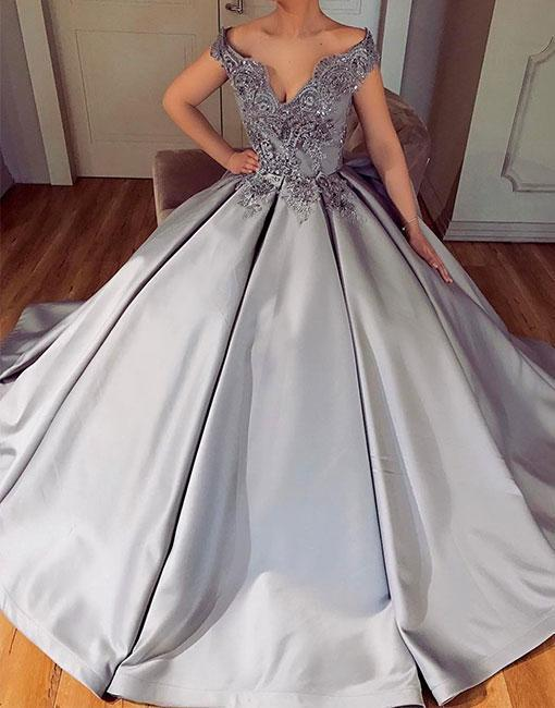 Silver satin lace long prom dresses, formal dress