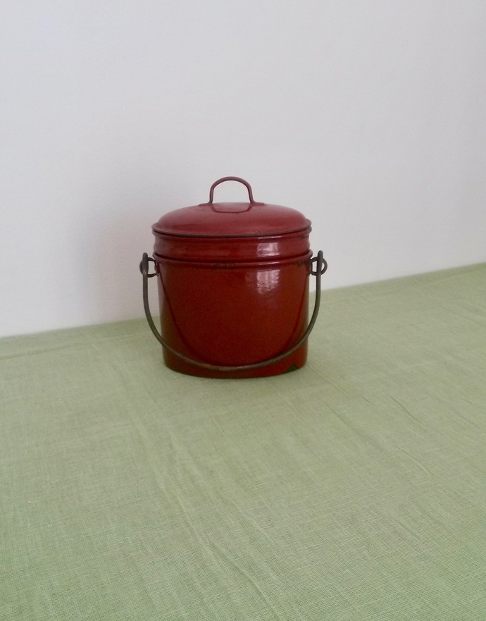 Enamel Lunch Box, Oval Canteen, Brown Lunch Box, Brown Enamel, French, Rustic