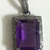 925 Sterling Silver Diamond African Amethyst Emerald Cut faceted  Pendant