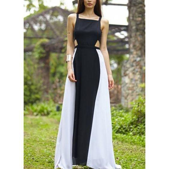 Black And White Stitching Square Collar Strap Sleeveless Open Back Dress,Custom