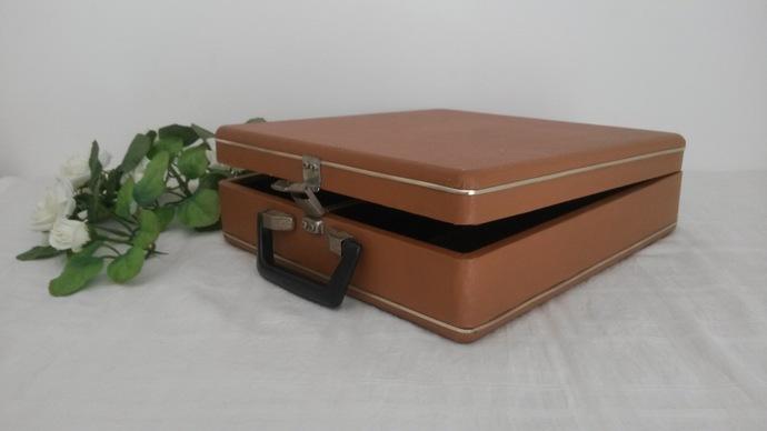 Cassette Case, 1970s Tape Storage, Portable Storage Case, Faux Leather, Music