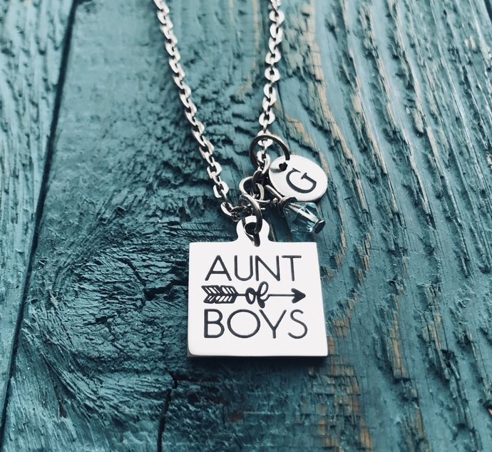 Aunt of boys, AUNT NEPHEW GIFT, Sister, Aunt, Silver Necklace, Charm Necklace,