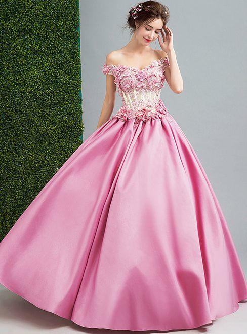 Pink Satin Off The Shoulder Wedding Dress by prom dresses on Zibbet