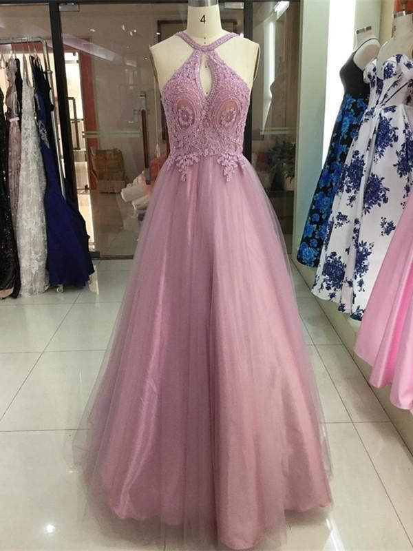 Charming Tulle Halter Neckline A-line Prom Dresses With Beaded Appliques ,Custom