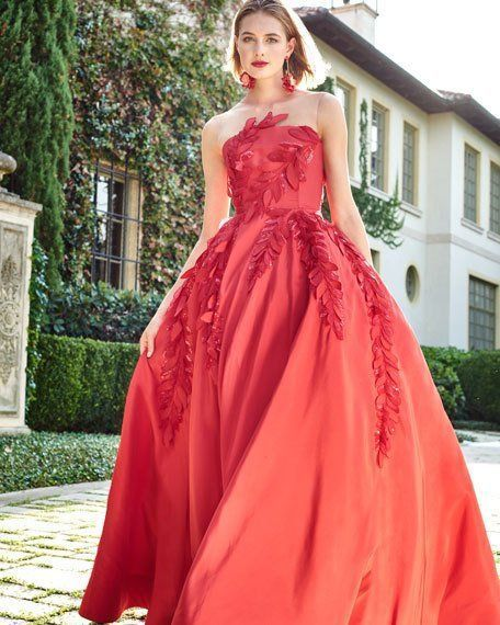 Sleeveless Illusion-Neck Evening Ball Gown w/ Floral Appliques,Custom Made,Party