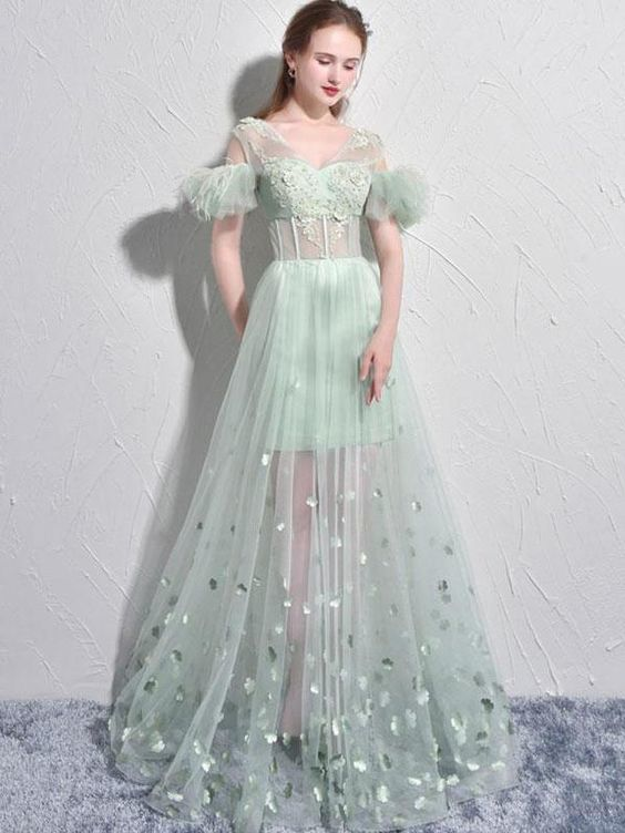 Sexy Prom Dresses A-line Short Sleeve Sage Long Prom Dress Tulle Evening Dress ,