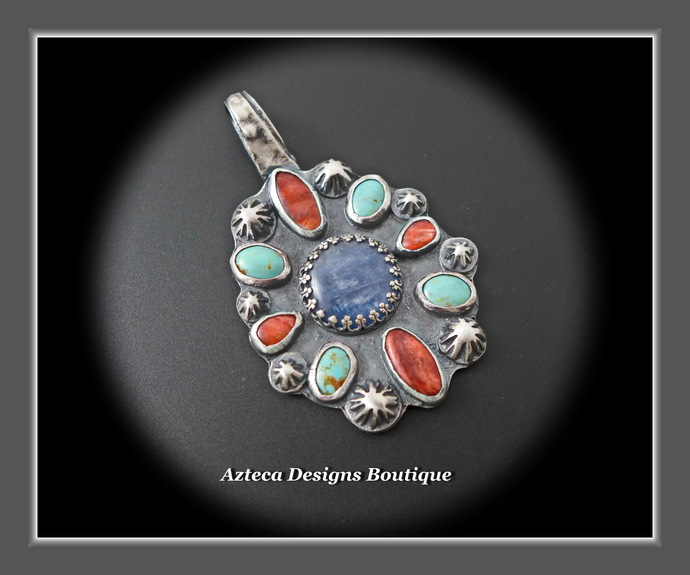 Southwest Traditional Hand Fabricated Silver Multistone Pendant