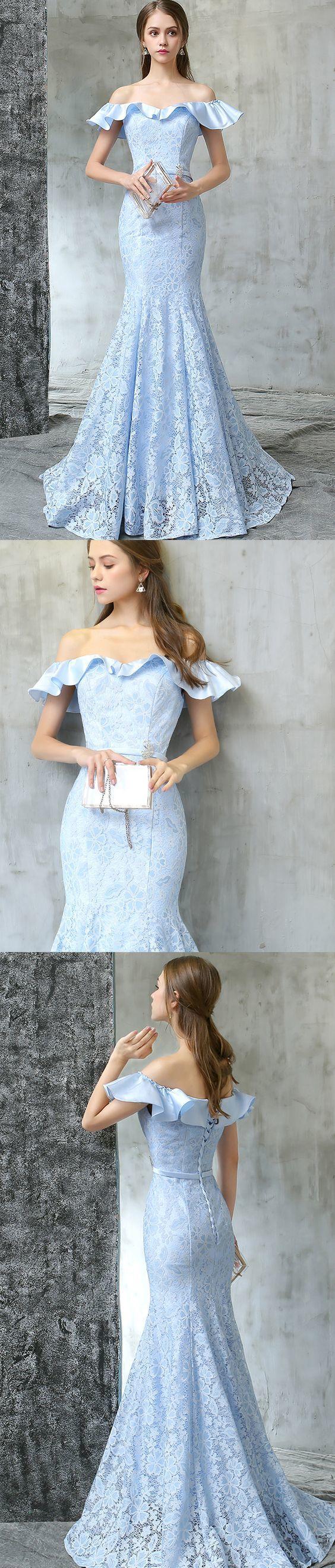 Off Shoulder Prom Dress, Mermaid Lace Prom Dress,Formal Prom Dress,Custom