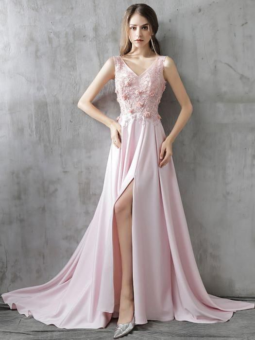 Chic A-line V-neck Chiffon Pink Applique Lace Modest Prom Dress Evening Dress ,