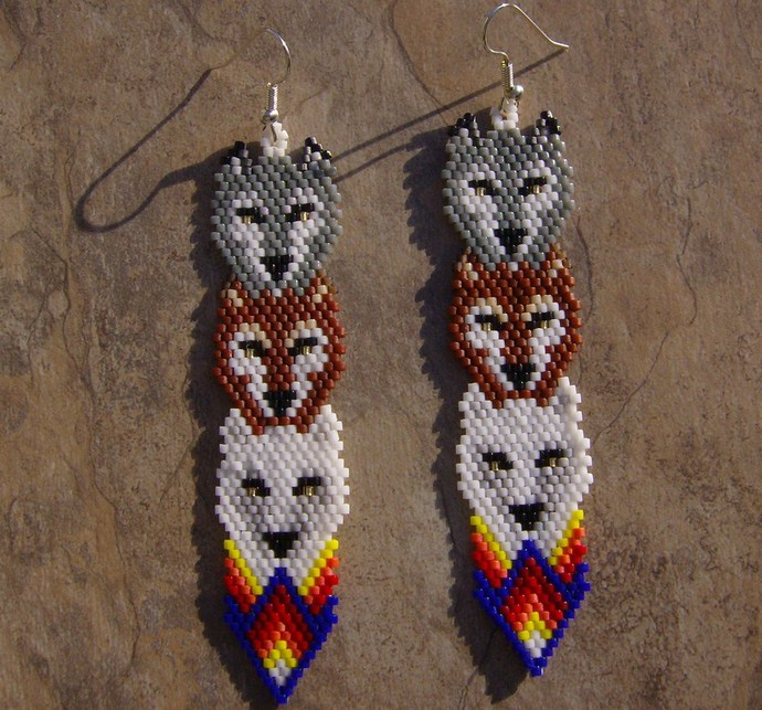 Wolf Totem Earrings Hand Made Seed Beaded Bead Work