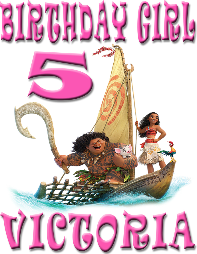Personalized Iron-On Transfer Moana Birthday Girl Party Gift T Shirt Name On T