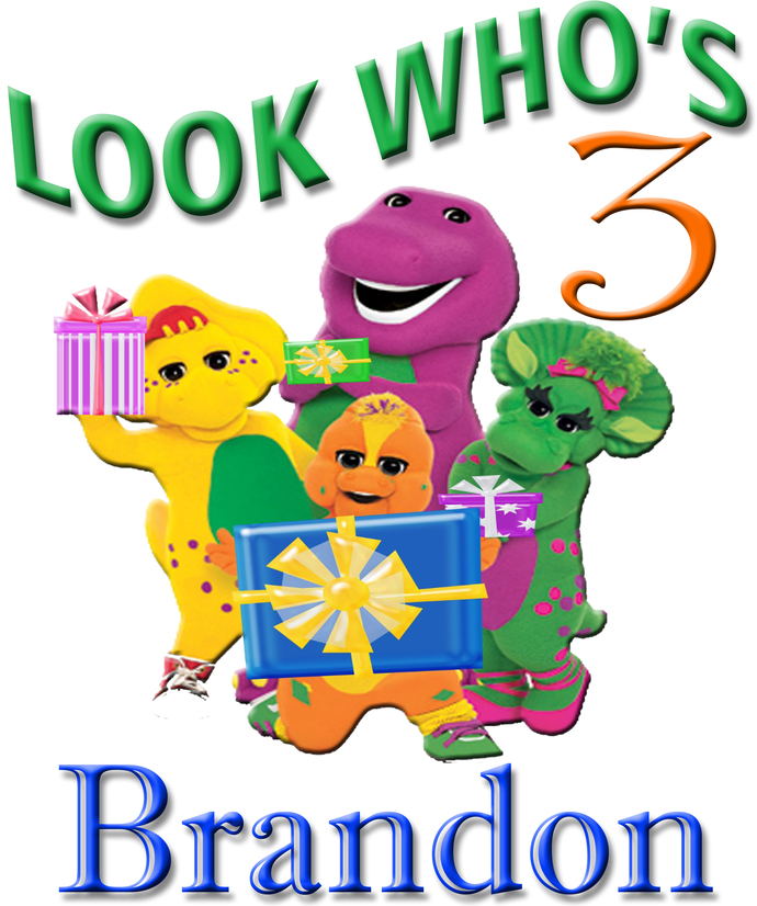 Personalized Iron-On Transfer Barney Birthday Boy Party Gift T Shirt Name On T