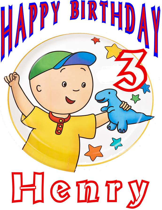 Personalized Iron-On Transfer Caillou Boy Birthday Party T Shirt with Name & AGE