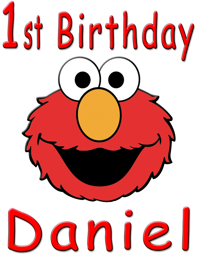 Personalized Iron-On Transfer Elmo 1st Birthday Party T Shirt with Name For
