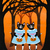 The Halloween Twins Original Cat Folk Art Acrylic Painting